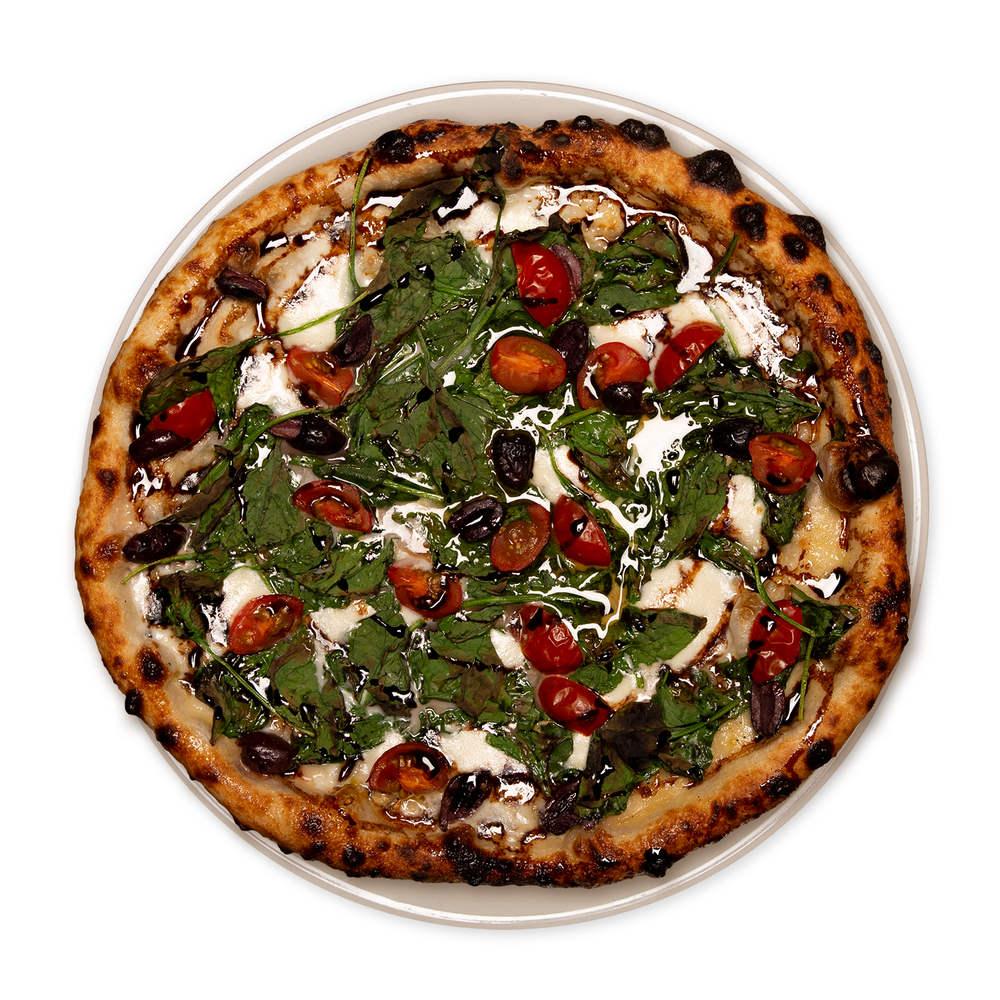 the jerry  Roasted garlic oil, cherry tomato, kalamata olives, spinach, hand pulled mozzarella, balsamic glaze.
