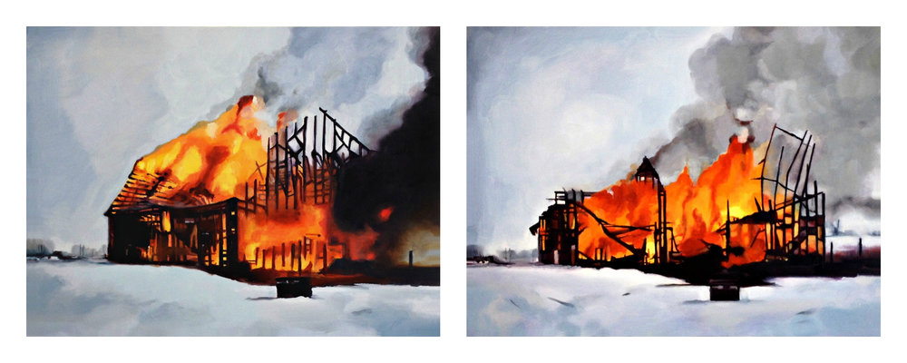 SOLD The Fire I & II, 2 12x16', oil on birch panel, 2014