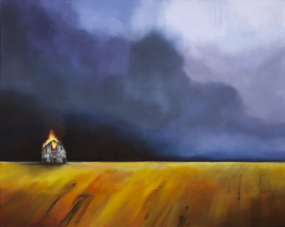 """SOLD """"Take Shelter 5"""" 48x60"""", acrylic and oil on canvas, 2012"""