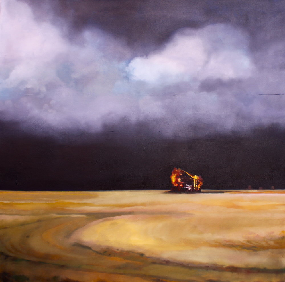 """SOLD """"Take Shelter 2"""" 48x48"""", acrylic and oil on canvas, 2012"""