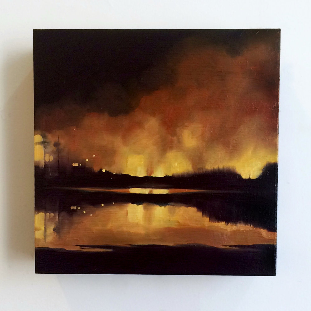 """""""I Never Understood What was at Stake #2"""" 6x6, oil on birch, 2015"""