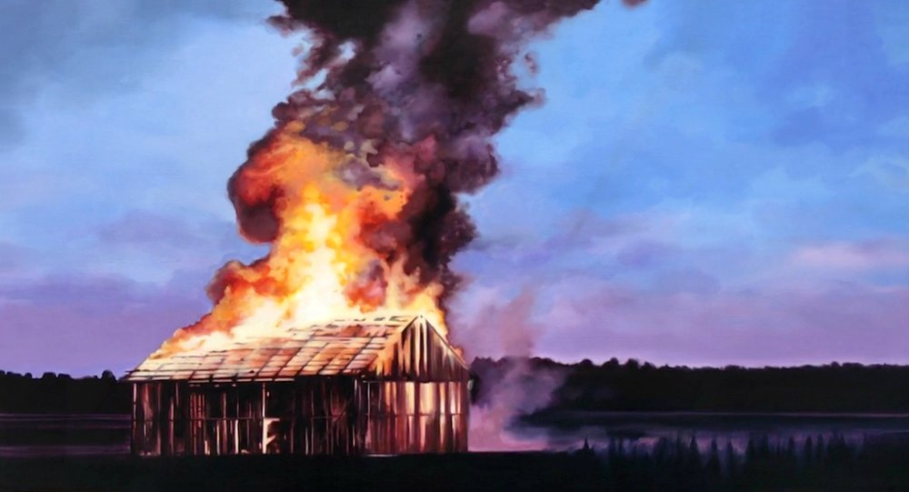 """SOLD """"Hailey's Fire"""", 35""""x65"""", oil on canvas, 2017"""