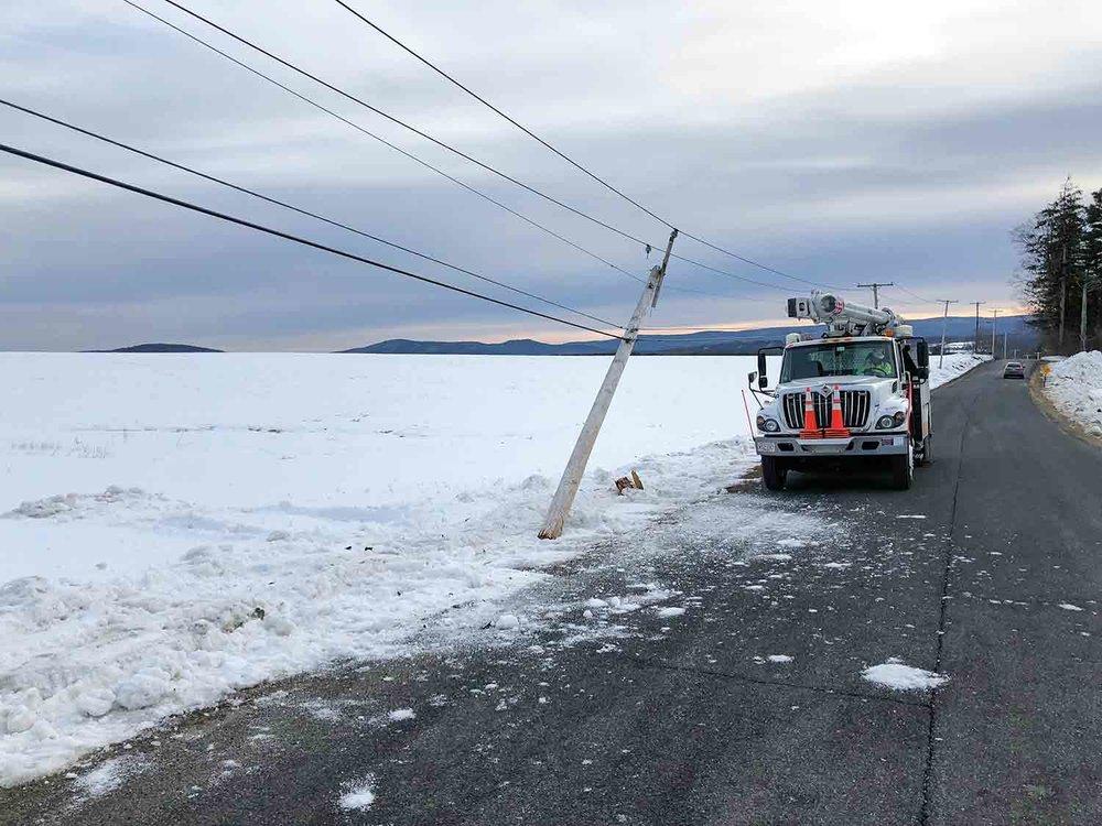 Pole Down. Fiber Connect Crew On Scene. -