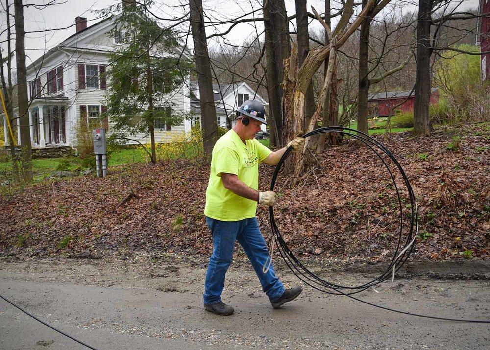 Fiber Connect Crew Member Pulling & Coiling Fiber Optic Cable, Egremont, MA