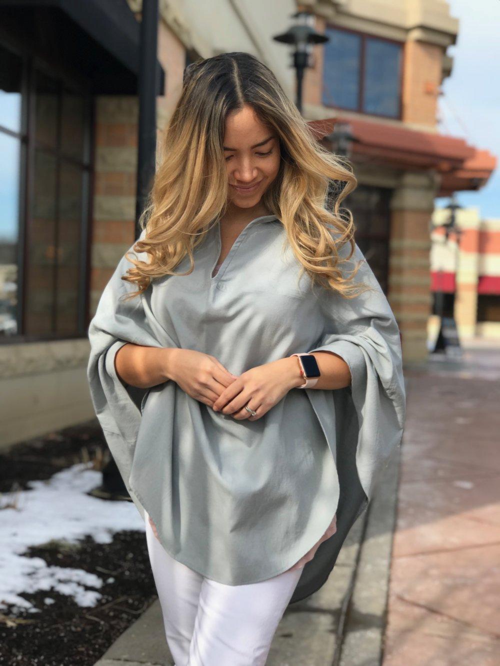 Infineni Nursing Cover as Poncho in Latte Stone Grey