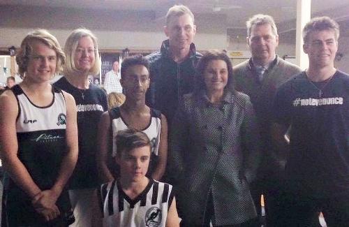 Former Senator Jacqui Lambie attending the #NotEvenOnce® seminar at Devonport Football Club