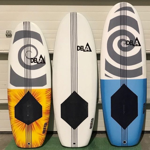 "Hot off the press. 4'10"" 5'0"" and 5'4"". Tuttle + track mounts. @40toesfoamworks . . . #deltasurffoils #foilsurfing #foilsurf #hydrofoil #foil #watersports #ocean #surf #customsurfboards"