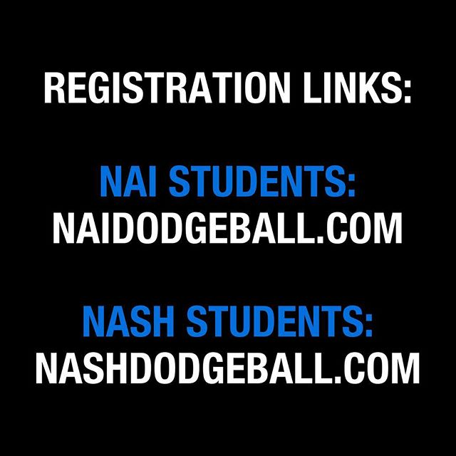 📛 IMPORTANT ANNOUNCEMENT: NA Dodgeball 2018 registration will open online at 8:10 AM TOMORROW at: naidodgeball.com (NAI Students) nashdodgeball.com (NASH Students)  Note: Information regarding payment will be sent in a confirmation email following registration