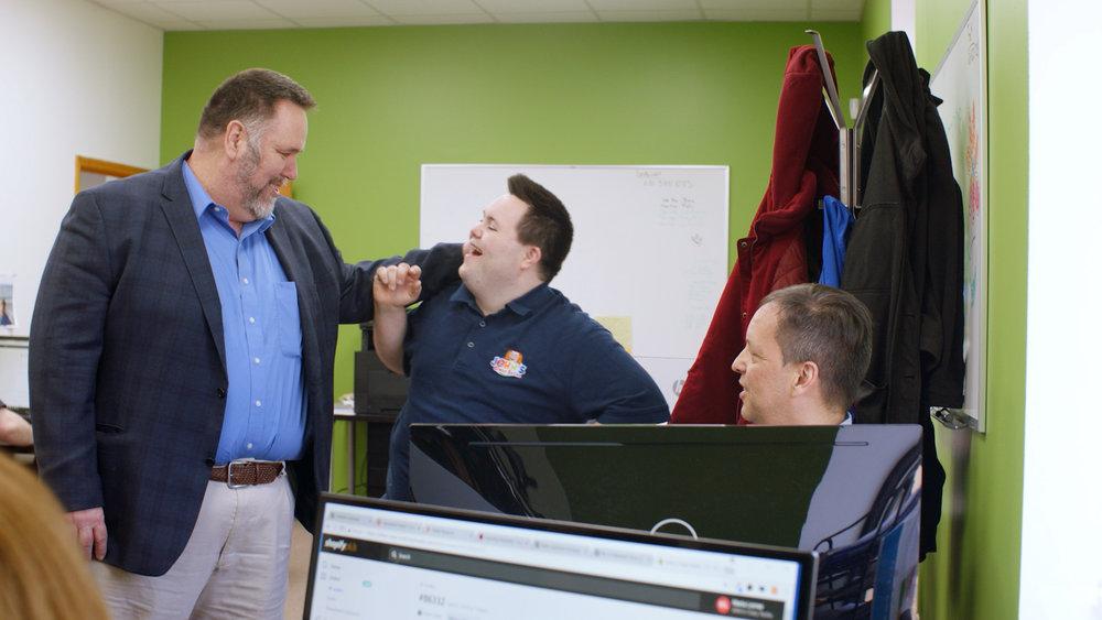 Mark and John at John's Crazy Socks HQ