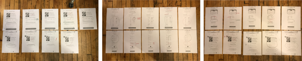 As part of the usability session, after interacting with the three prototypes,participants were asked to mark up print outs of the designs (red = things they disliked // green = things they liked).