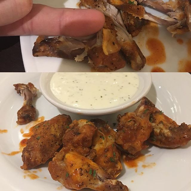 """Saddest """"chicken wings"""" I've ever waited over an hour for.  Thanks Hilton garden inn Montgomery Alabama!  Ps who needs all that ranch!!"""