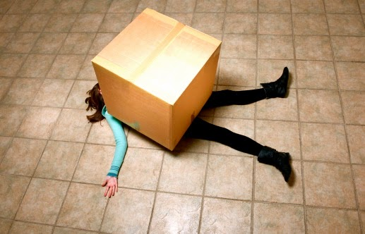 If I had thought for one second that lying on the floor with a comical box on top of me would've helped…