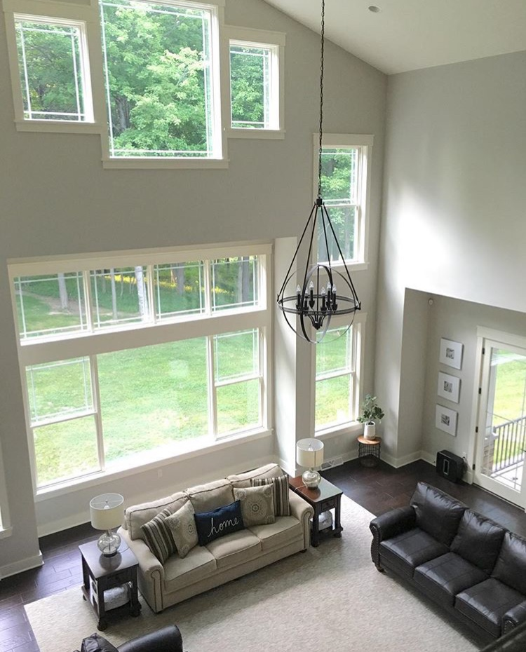 Modern Farmhouse Living Room Featuring Sherwin Williams Worldly Gray