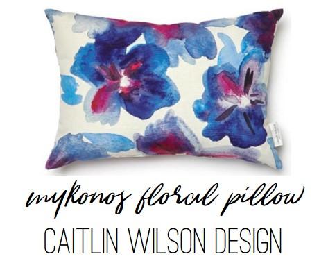 Caitlin Wilson Mykonos Floral Throw Pillow -- watercolor floral pillow in jewel tones.