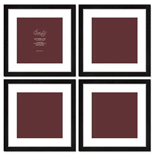 Craig Frames 4-piece 16x16 Black Frames on Amazon.