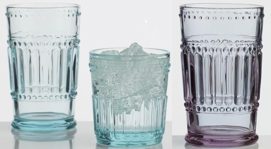 World Market Lavender and Blue Pressed Glass Glasses.