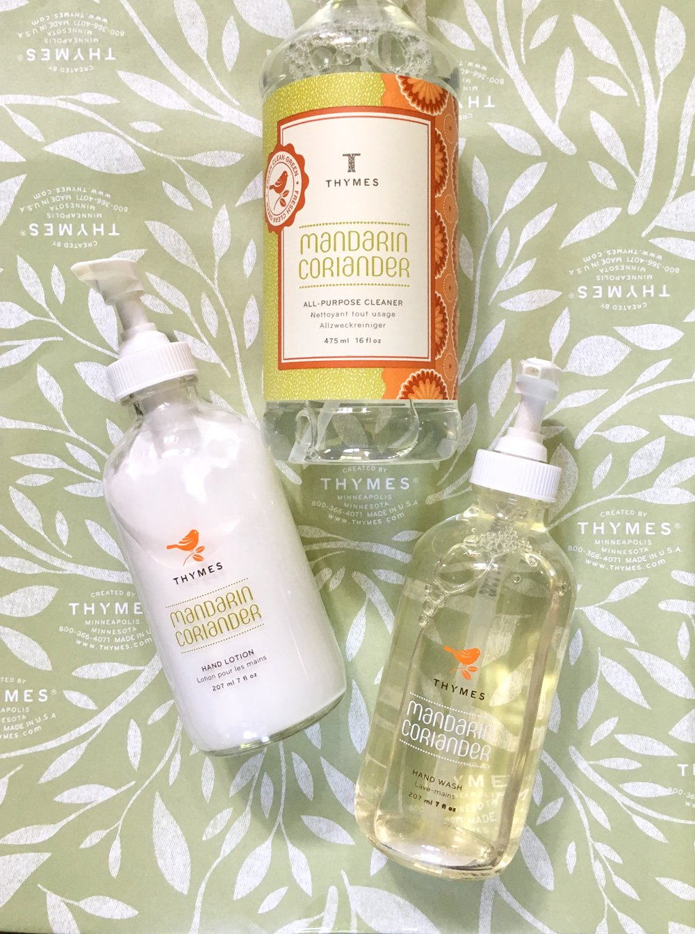 Thymes Mandarin Coriander Hand Lotion, Soap and All-Purpose Cleaner.