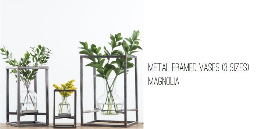 Magnolia Metal Framed Vases.