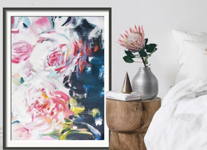 Mint Fine Art Pink Peony Abstract