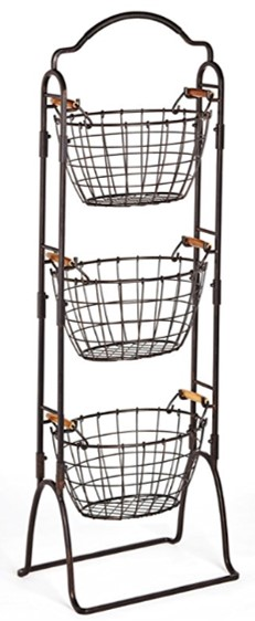 Amazon Stacking Basket Organizer with Wood Handle Detailing.