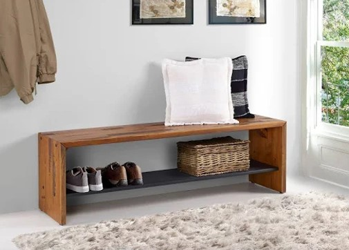 Rustic reclaimed Wood Bench by Overstock.