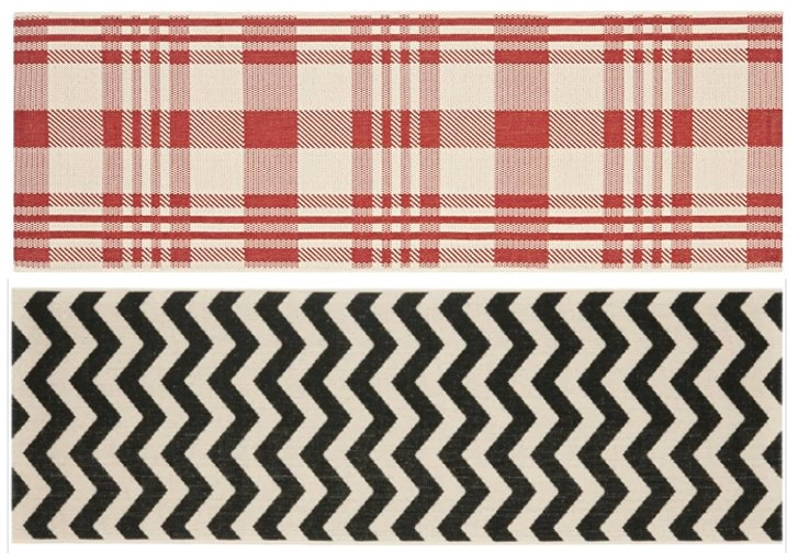Safavieh Red Plaid and Black Chevron Outdoor Runners.