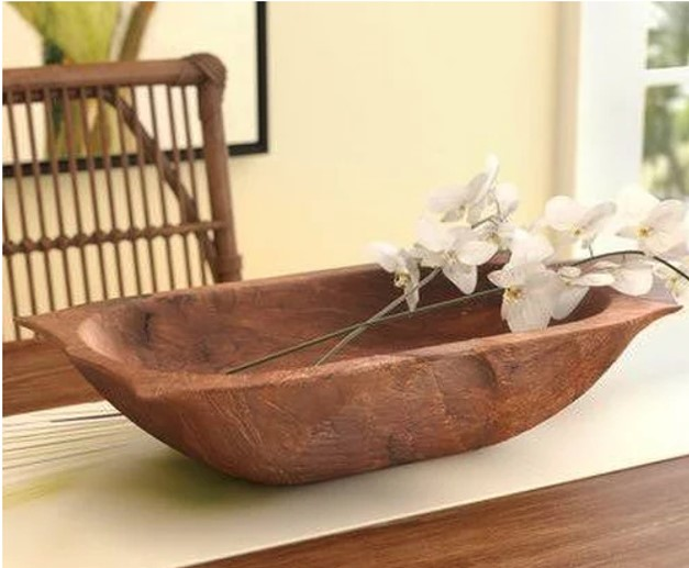 Wayfair Bay Isle Home Deep Wooden Dough Bowl with Handles