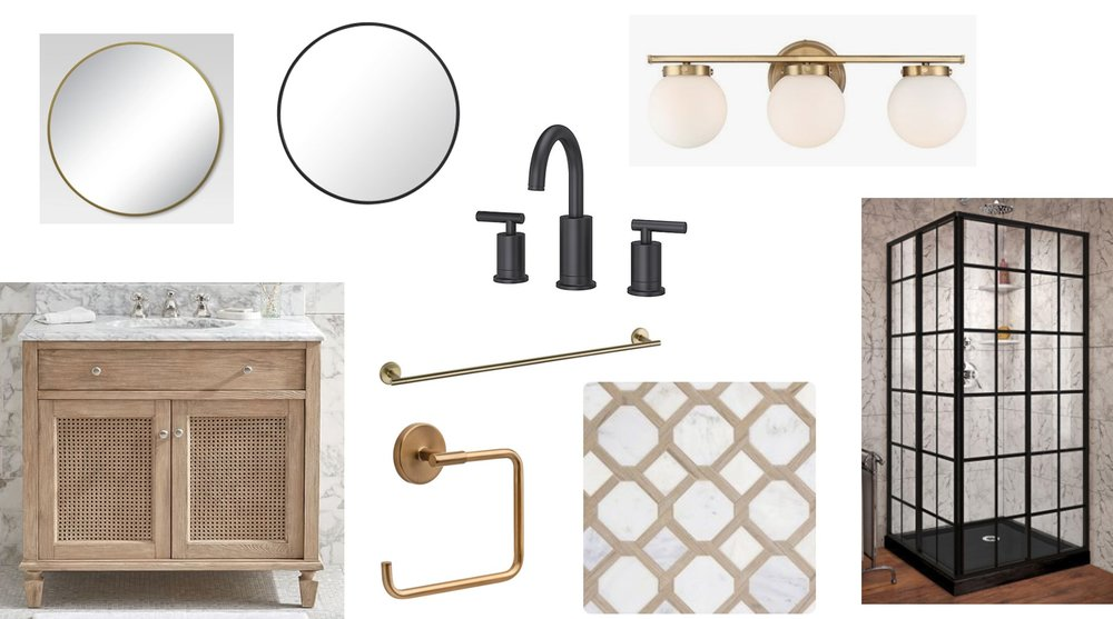 Neutral-modern bathroom mood board by Farmhouse Redefined.