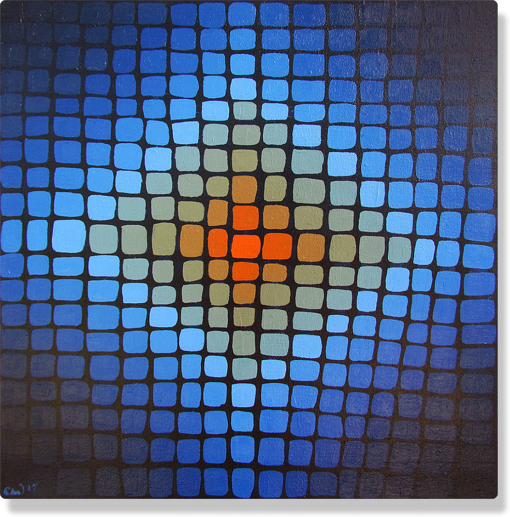 Camila Wilde art with feminist artist blue and orange grid painting aka energy paintings.