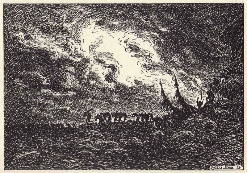 "From Louis Moe's ""Ragnarok, en billeddigtning"", 1929"