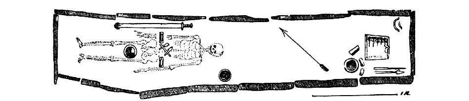 "The dimensions and allignment of the ""Evebø chieftain's"" burial chamber from Gustavson (1890a: 4)"