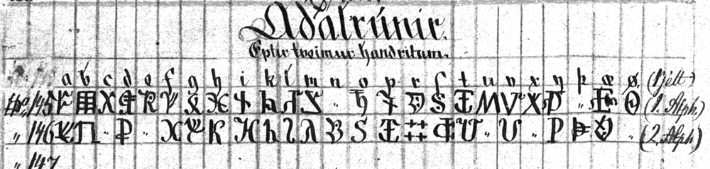 """adalrunir"" from the Huld Manuscript. ÍB 383 4to, 10v"