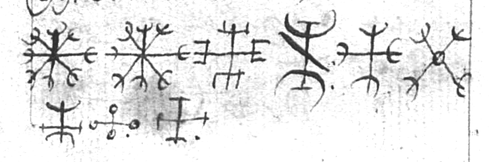 A collection of ægishjálmar in  Lbs 2413 8vo , 31v. Iceland, ca. 1800.