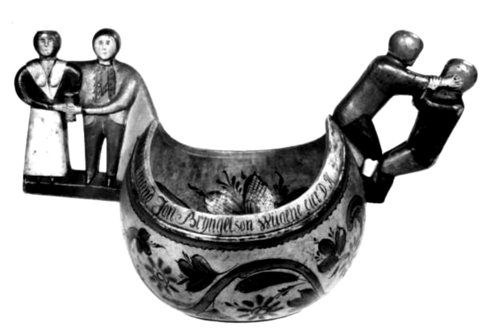 Beer bowl displaying some of the dualities of drinking culture. Photo: Norsk Folkemuseum
