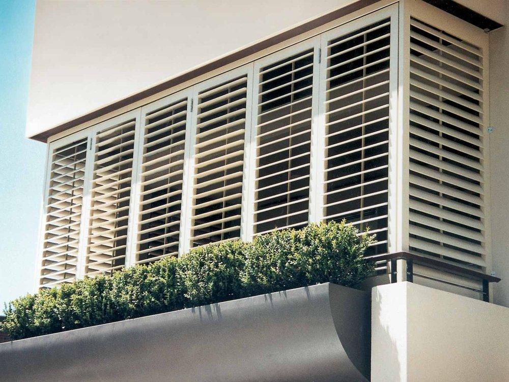 Balcony White Aluminium Shutters in Hamilton.jpg