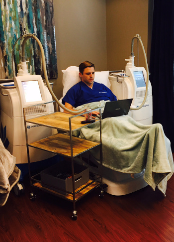 Dr. Pyle getting CoolSculpting