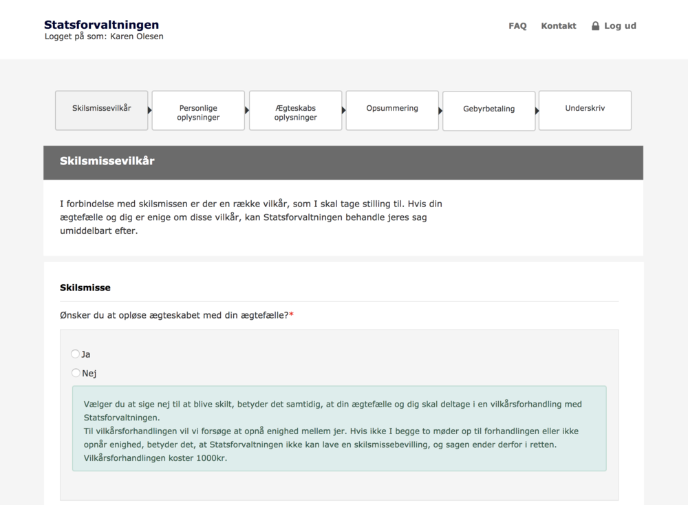 Wireframes with an example of a 'consequence' text