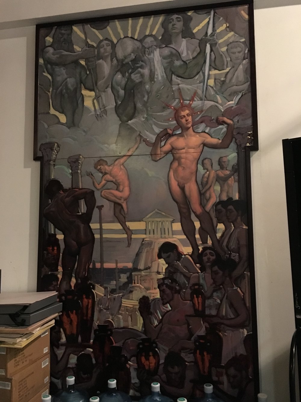 One part of the murals John Watkiss made for Associates in Art