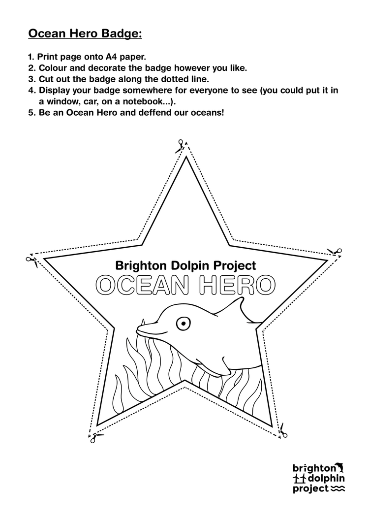 Download and cut out our Ocean Hero Badge template, and wear your Ocean Hero Badge with pride!