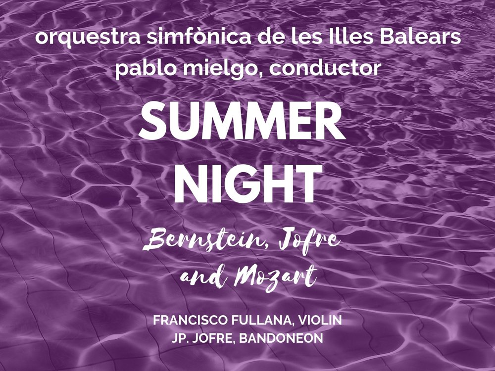 Last 12th of July, at the magic Bellver Castle in Palma, Pablo Mielgo and the OSIB made a live recording with the Balearic TV Station (IB3). The recording included, the Bernstein Violin Serenade, played by one of the most prominent Spanish young talents, Francisco Fullana, Avery Fisher award 2018. The JP. Jofre Concerto for Bandoneon and violin, premiered in Spain, and performed by its one composer, JP. Jofre and Francisco Fullana. In the second half the Mozart Serenata