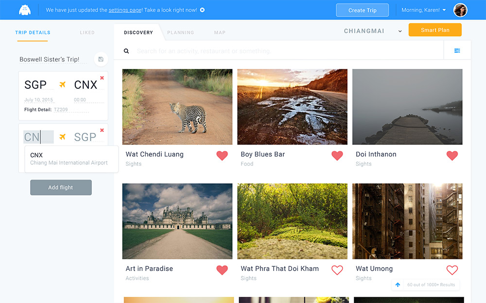 Travelleh's Discovery page