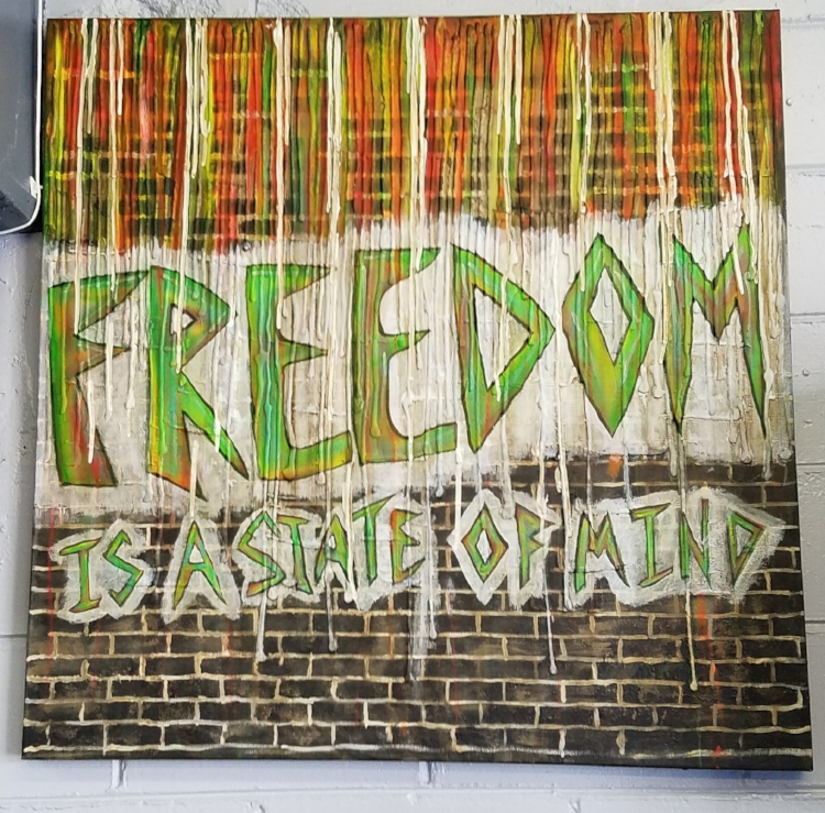 "2018 Freedom is a State of Mind, Acrylic on canvas, Approximately 40'"" x 40"", by Marcia Hahn For Sale"
