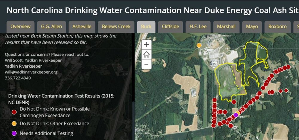 NC drinking water contamination near Duke Energy coal ash site.