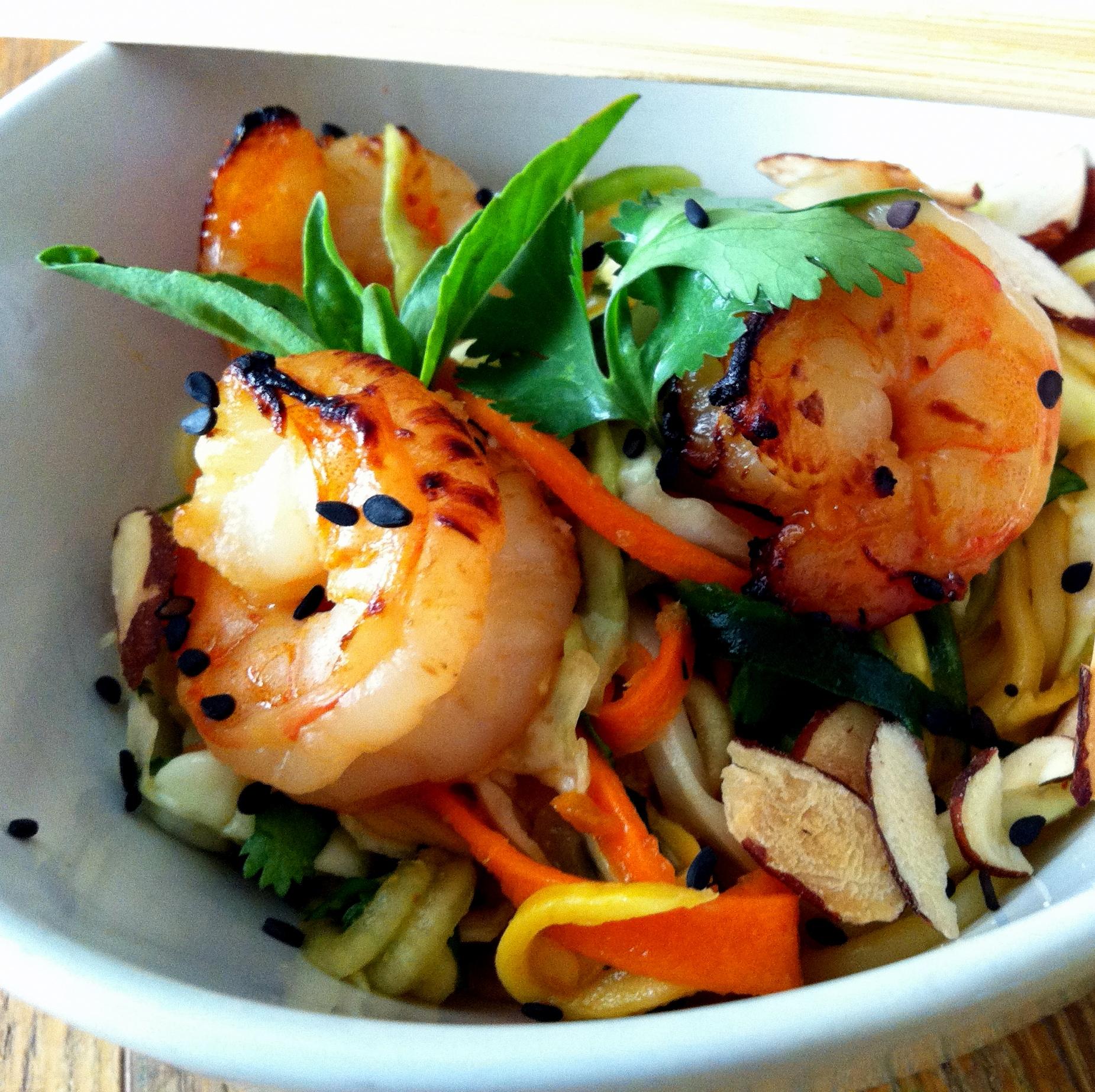 Roasted Shrimp with Shaved Veggie Salad