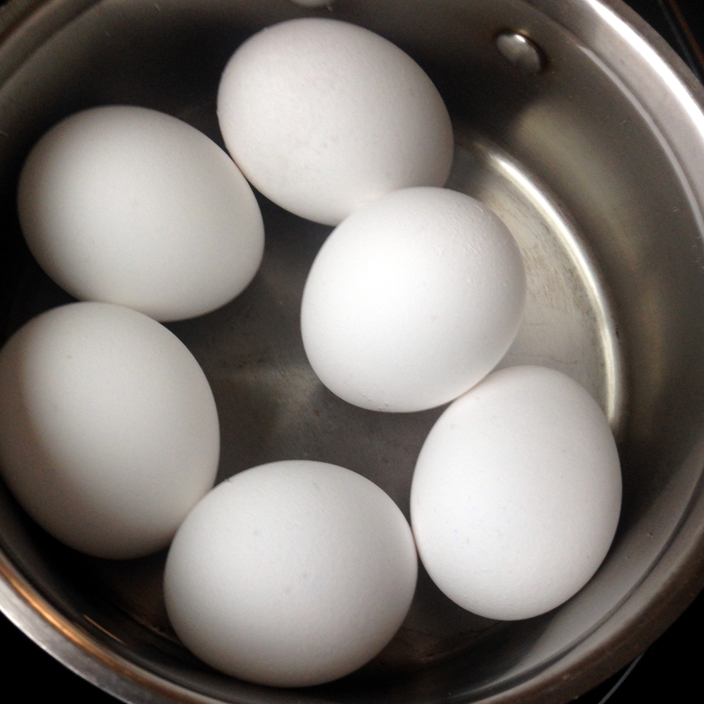 Step one for boiled eggs