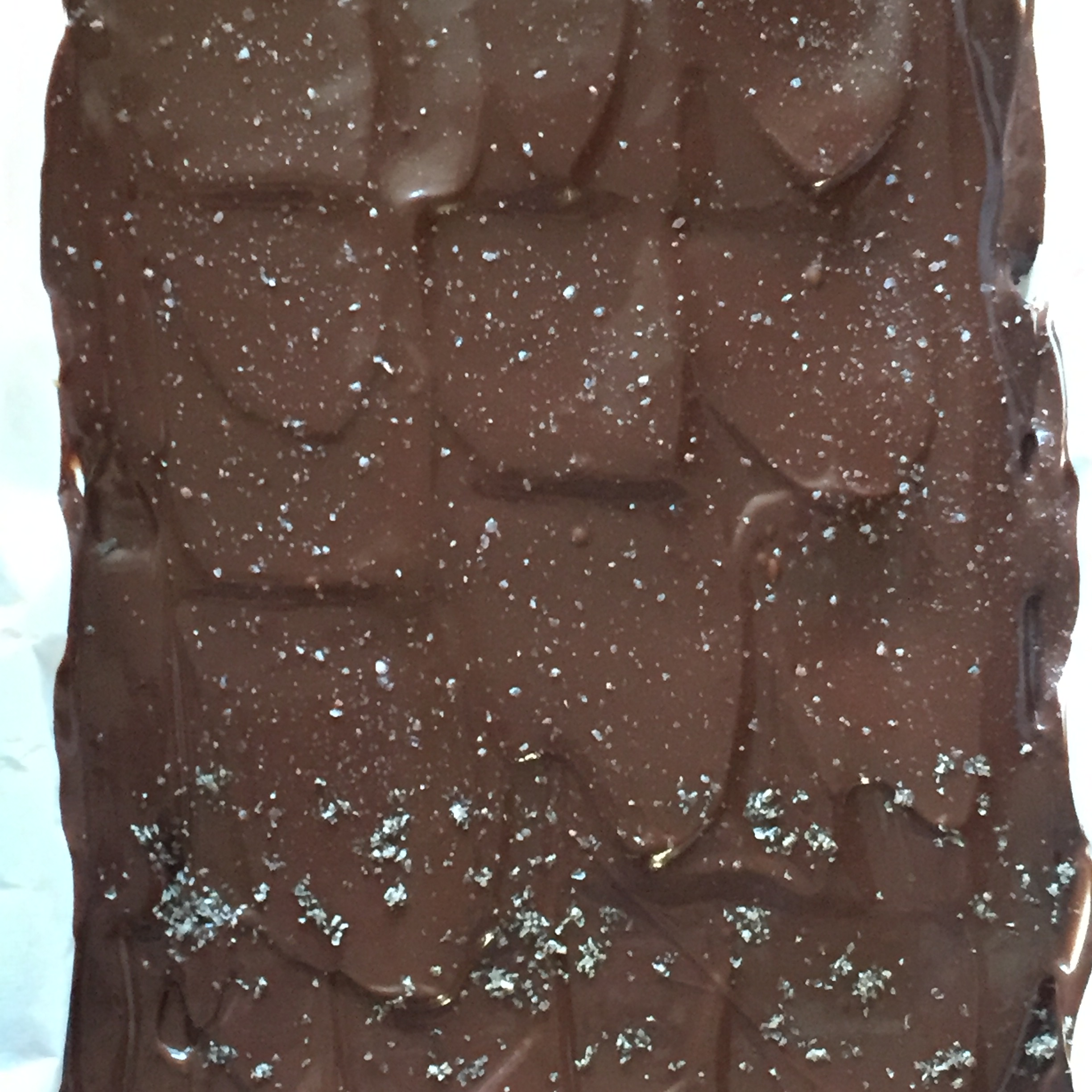 After the chocolate has set sprinkle with sea salt