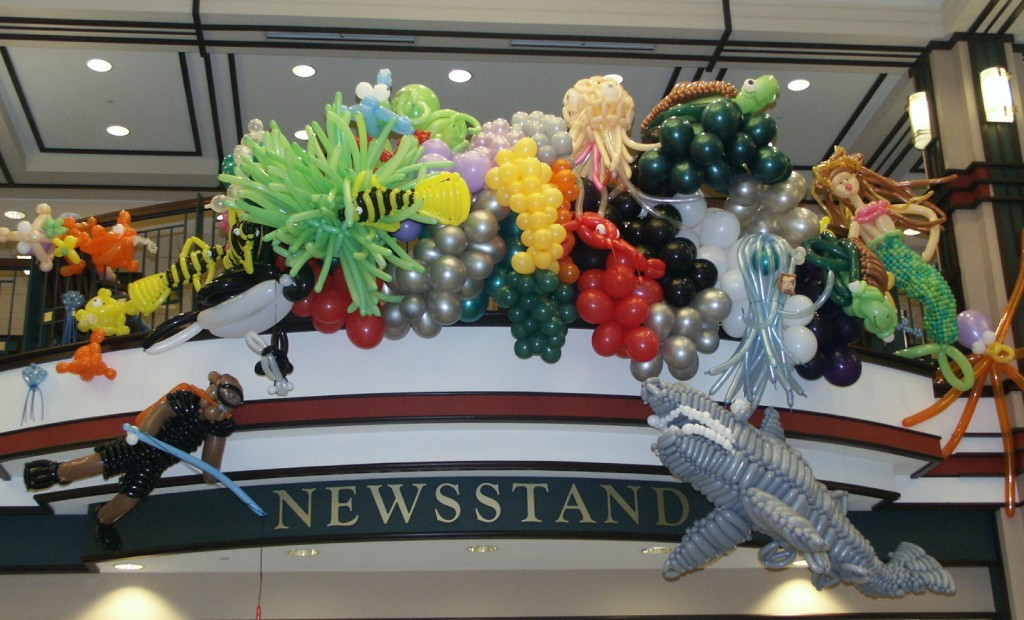 This undersea sculpture was part of Balloons Around the World and was on display at Barnes & Noble in Pittsford, NY