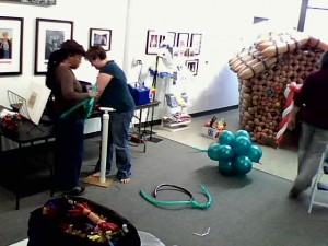 Building a balloon gingerbread house