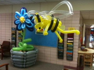 Winslow Elementary bee mascot and flower by Airigami