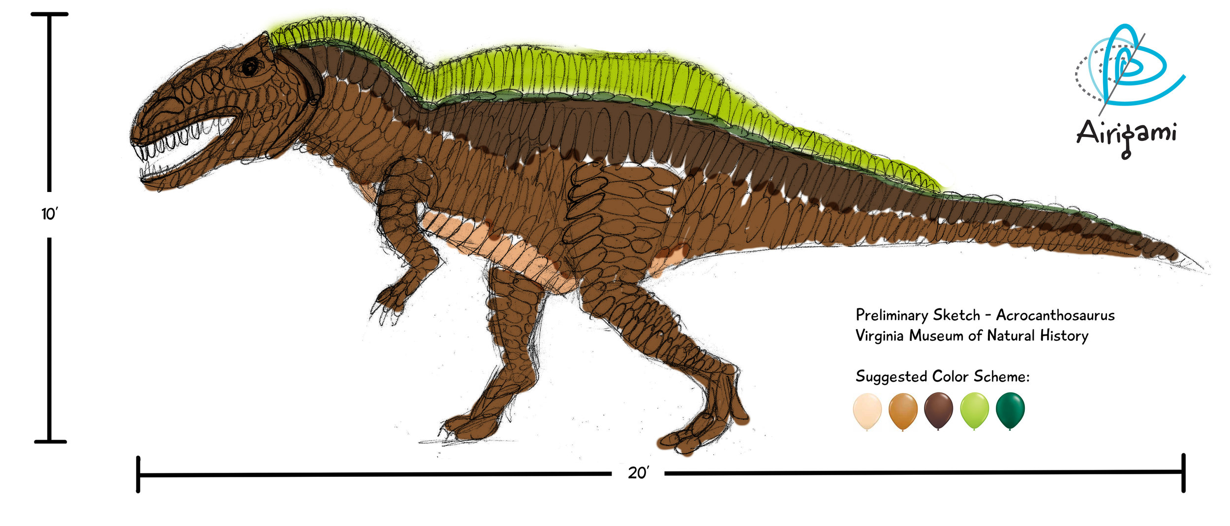 Balloon acrocanthosaurus concept sketch